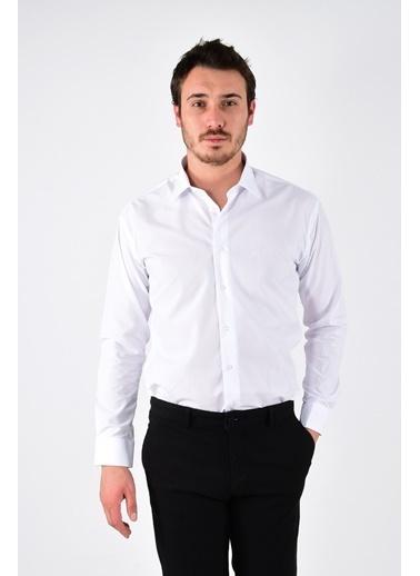 Modaplaza Erkek Slim Fit Kesim Uzun Kol Beyaz Gömlek Beyaz